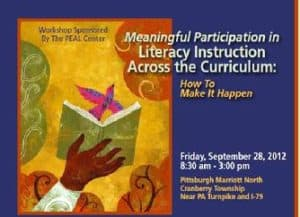Meaningful Participation in Literacy instruction across the curriculum Workshop advertisement